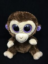 "Ty Beanie Boos Coconut Monkey Chimp Brown Big Purple Eyes Bean Bag Plush 5"" Toy"
