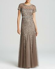 $380 ADRIANNA PAPELL EMBELLISHED GODET BEADED MESH GOWN SZ 8 LEAD