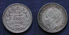 MONETA COIN MONNAIE OLANDA KONINGRIJK DER NEDERLANDEN - 25 CENTS 1940 WILHELMINA