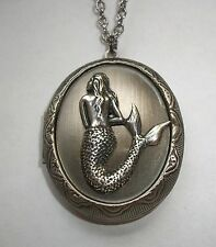 Sterling Silver Plated MERMAID Lady of the Sea LOCKET NECKLACE Pill Stash Box