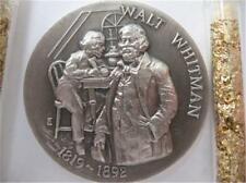 1+OZ. LONGINES STERLING SILVER 1819-1892 WALT WHITMAN 3D HIGH RELIEF COIN+GOLD