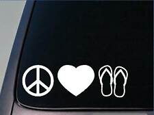 "Peace love Flip flops sticker *H151* 8"" vinyl beach surf tan"
