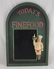Vtg. Kitchen Cafe Deco Today's Fine Food Wooden Gourmet Chef Chalk Board SIGN