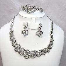 Belle fleur cristal argent fleur costume fashion party bridal collier set