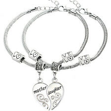 2Pcs/Set Mother and Daughter Love Heart Bangle Bracelet Charm Jewelry Gift New