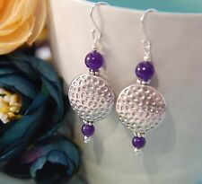 Purple Jade Gemstone & Tibetan Textured Coin Sterling Silver Earrings ~ Tribal