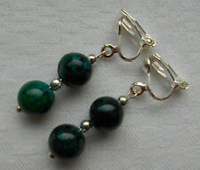 Unique silver plated clip on earrings handmade green chrysocolla gemstone beads