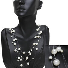 "17"" White 5-9mm Cultured Freshwater Pearl 5-Row Necklace"