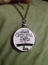 "Harry Potter Saying doublesided Charm Pendant ""It does not do to dwell"" White W1"