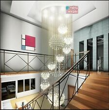 Rain Drop Modern Chandelier Crystal Light Ceiling Living Stairs Lighting Fixture