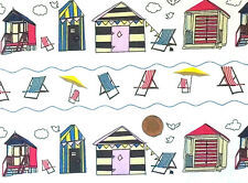 IVORY WHITE WITH A BEACH HUT DESIGN - 100% COTTON FABRIC F.Q.