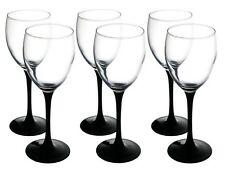 Set of 6 Tall Black Stem White Wine Glasses | Glasses 250 ml Boxed