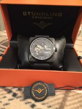 Stuhrling Black Raven Diablo Square Automatic Skeleton Watch 42mm B&R Inspired