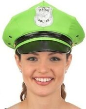 LIME GREEN POLICE POLICEMAN OFFICER COP PARTY COSTUME HAT CAP - ADULT SIZE