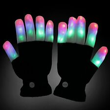 Fashion Cool LED Rave Flashing Gloves Glow 7 Mode Light Up Finger Lighting Black