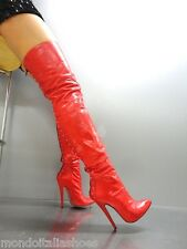 MORI ITALY HIGHEST HEEL OVERKNEE BOOTS STIEFEL STIVALI ZIP LEATHER RED ROSSO 40