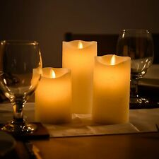 Flameless Flickering Candles LED Electric Battery Operated Set of 3 Pillar