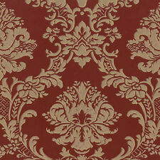 Dramatic Gold Deep Red Damask Wallpaper Double Roll Bolts FREE SHIPPING
