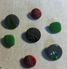 Vintage Green & Red Glass Buttons Fancy Button Lot CK-9