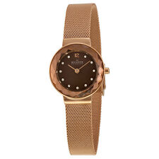 Skagen Leonora Brown Mother of Pearl Dial Rose Gold-plated Ladies Watch 456SRR1