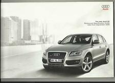 AUDI Q5 SE/S ILLUSTRATED PRICES AND SPECIFICATION SALES BROCHURE SEPTEMBER  2008