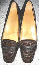 Salvatore Ferragamo elegante Slipper braun Kroko 38,5 3cm Absatz neuwertig