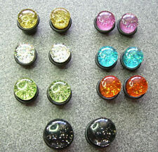 "Pair Plugs Tunnels 9/16"" 13mm ML13 Single Flare Black Pinkish Purple Glitter"