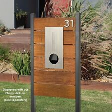 HENDON Designed by Milkcan Timber Pillar Letterbox Stainless Steel Wood Mailbox