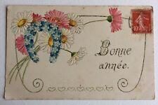 CPA. 1908. Bonne Année. Myosotis. Marguerites. Fer à Cheval. Gaufrée.