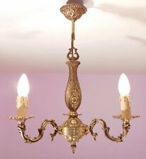 Lovely Pair of French Vintage Rococo 3 Light Bronze Chandeliers