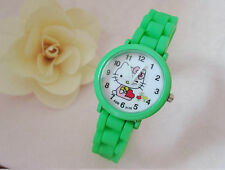 Kids Girls Hello Kitty Green Wrist Watch Analog Silicone Strap Water Proof