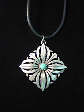 """""""JJ"""" Jonette Jewelry Silver Pewter 24"""" FLORAL Turquoise Stone Necklace"""