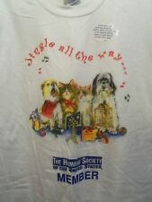 Jingle all the way Humane Society member graphic pets t shirt L white