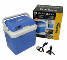 24L PORTABLE COOL BOX ELECTRIC COOLER CAR VAN FRIDGE WITH 12V & 240V ADAPTERS
