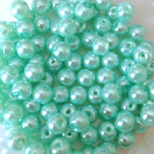 6mm Glass faux Pearls - Turquoise - 100 round beads, jewelry making, craft