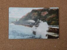 East Parade Teignmouth Devon Rough sea Tinted posted 1906 Art