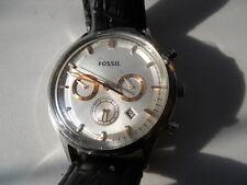 Fossil chronograph men's black leather,quartz,battery & analog watch.FS-4640