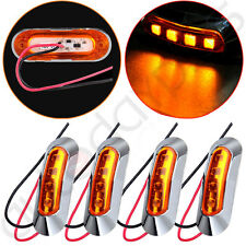 4pcs Amber Light Clearance Side Marker Truck Trailer w Chrome Cover Bezel 4LED