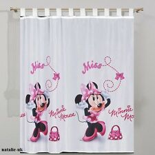 Disney Tab Top Voile Net Curtain -MINNIE MOUSE IN PINK- 75cm width x 157cm drop