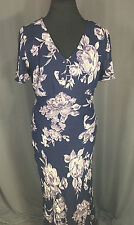 Nostalgia Ballroom Sun Dress Vintage Look Size Large L Navy Blue Floral Design