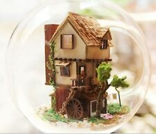 Kit w/ LED Wooden Dollhouse Miniature DIY House Dream of Forest Puppenhaus
