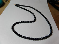 """24"""" largo negro perla de cristal collar con cuentas bd Single Strand"""