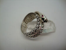 John Hardy .925 Sterling Silver Classic Chain Snake Cobra Ring RUBY Eyes Sz 10