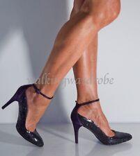 UK6 Karen Millen Purple Sequin Satin Ankle Strap Evening Sparkle Court Used Worn
