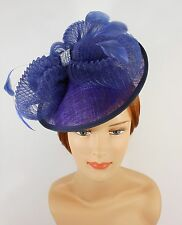 New Church Derby Wedding Fascinator Dress Hat with Headband TS006022 Navy