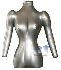 Inflatable Mannequin, Female Torso with Arms, Silver