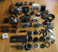 Lot Cameras Olympus Pen Zeiss Ikon Canon Minox Light Meters Filters Bellows Etc