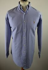 Premium men's Polo Ralph Lauren mid blue tartan check long sleeved shirt XL 15.5