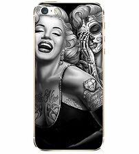 Apple iphone 6 6s Case 5.5 Inches MARILYN MONROE Skull Tattoo Cover Rubber Retro