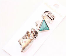Mixed 4pcs Turquoise Leaf Tibet Silver Clean Crystal Statement Join Rings SZ 7-9